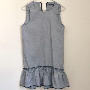 Zara Black Gingham Sleeveless Ruffle Shift Dress
